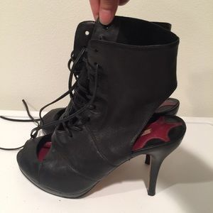 Real lambskin black lace up booties 7